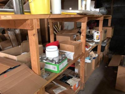 Shelf cleanout/hundreds of peg board hooks, pipe fittings, organizer trays, and Much more, large lot