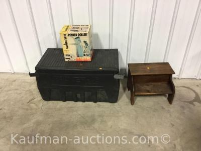 Tool box, power roller & step stool