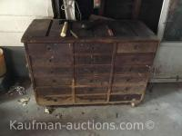 Vintage tool box / some drawers filled w/ misc Hardware
