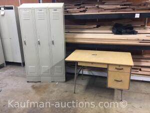 School desk & 1 3 compartment locker