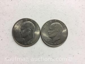 Two 1971D ike dollars