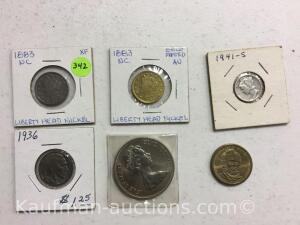 1883 liberty head nickel 1883 liberty head Gold platednickel 1941S Mercury dime 1936 buffalo nickel 1975 25 pence Ulysses S Grant one dollar Queen gol