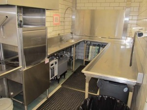 Complete SS Dishwashing Line including Hobert Washer, 3 Vat Sink and Single Sink. Approx. 33' length