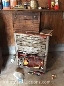 2 metal toolboxes w/ tools