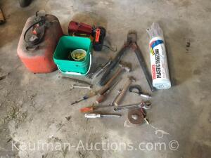 Gas tank, misc tools, plastic sheeting