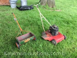 "17"" push mower & junior spreader"