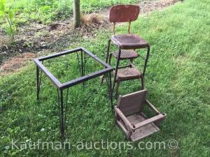 Metal stand on Casters, Children's swing, metal chair