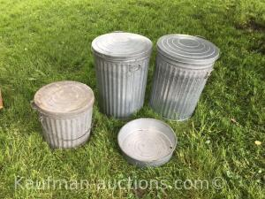 3 galvanized trash cans w/ lids