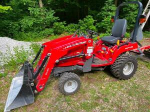 2014, 80 hrs, Massey Ferguson GC 1705 compact tractor with front-end loader