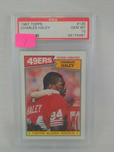 Charles Haley 1987 Topps Rookie, PSA, gem mint 10