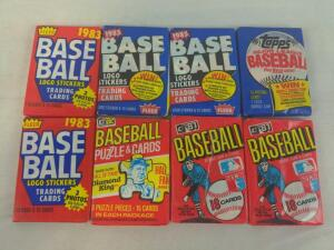 Unopened 8 baseball waxpacks from the early 1980s