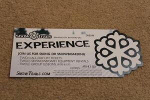 Snow trails Experience gift card -2 all day lift tickets, 2 snowboard/ski rentals, 2 group lessons