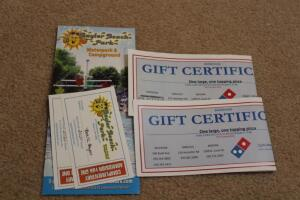 2 free admissions and 2 1 large 1 topping pizza dominos