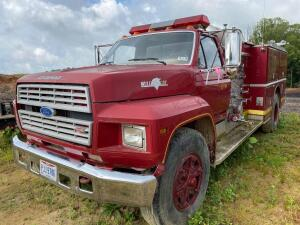 Ford F800 Fire truck, shows 20,200 miles
