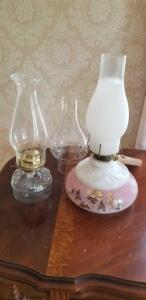 Vintage oil lamps & shade