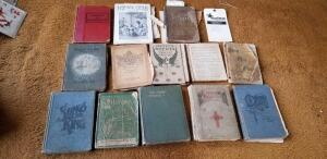 Collection of vintage hymnals & song books.