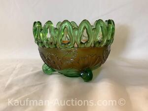 Northwood footed bowl- green