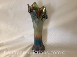 "Fenton Carnival swung vase - Diamond & Rib - green. 10.5"" high. 3 .5"" wide. 3"" base."