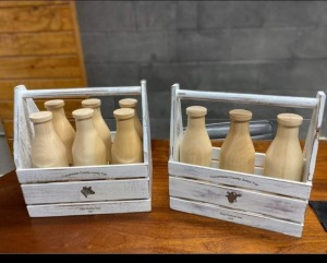 Swiss cheese blocks, butter, Limited Edition Handcrafted milk bottle carrier with 3 milk bottles.