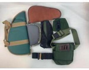 (3) pistol soft cases and a New Albany shooting pouch