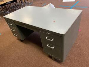 Metal teachers desk, metal file drawers, desk