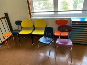 7 school chairs, wooden school room organizer
