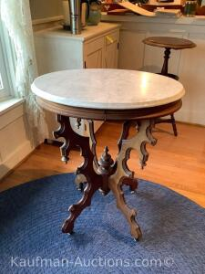 Ornate marble top side table