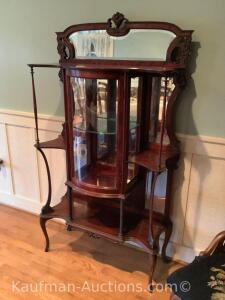 Mahogany etagere with mirror back