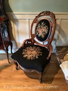 Victorian chair. Needlepoint.