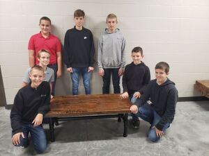 """Class Project by 8th Grade"" -  22"" x 46"" Industrial Coffee Table"