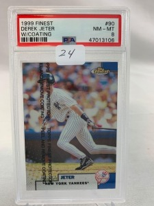 1999 Finest Derek Jeter  PSA 8- W/Coating