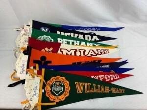 (14) collegiate Pacific pennants with original tags
