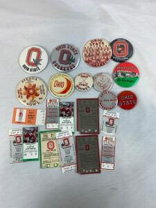 Ohio State football and basketball ticket stubs and badges