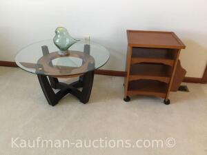 Glass top end table/ magazine rack cart on casters