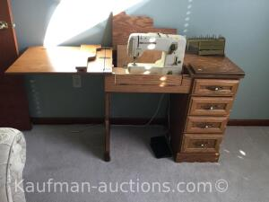 Bernina sewing machine w/ nice oak cabinet & contents