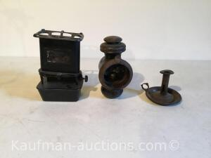 Toaster, carriage lamp, copper candle holder