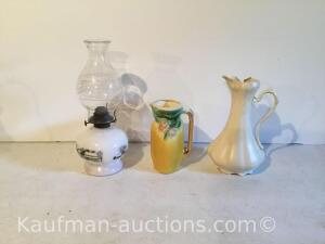 Currier & Ives oil lamp, (2) pitchers