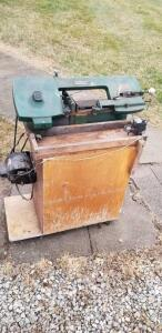 Metal cutting band saw on stand