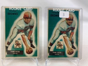 Two 1955 Bowman Frank Satski Rookie Football Cards