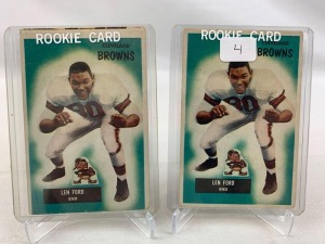 Two 1955 Bowman Lennie Ford Rookie Football Cards