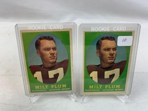 Two 1958 Topps Milt Plum Rookie Football Cards