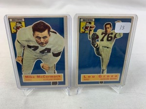 Two 1956 Topps Cleveland Brown Football Cards - Groza & McCormack