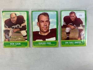 Three 1963 Topps Cleveland Brown Football Cards - Smith, Fiss & Gain