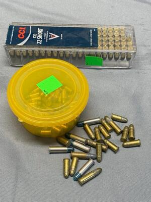 Assorted .22 caliber ammo, most are shorts. The box is missing 2 rounds,