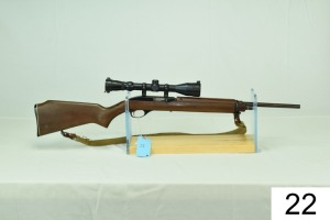 "Marlin    Mod 99MI    Cal .22 LR    SN: 69291948    W/Nickolas 3-9 Scope    ""Stock was repaired""    Condition: 40%"