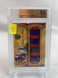 Adrian Peterson veteran quad Relic card, Beckett 9.5