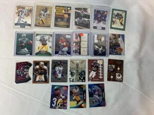Lot of 21 Serial #'D Football star cards. Franco Harris, Davis, Carter, Urlacher, Bo Jackson, Ryan, Etc.