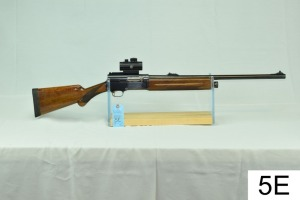 "Browning    Auto-5    12 GA    24"" Smooth Bore Slug    SN: L14399    W/BSA Red Dot    ""Stock was cut, recoil pad not original""    Condition: 55%"