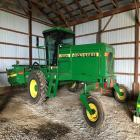 2001 JD 4890 Swather w/ JD 890  header power reverser mower- sickle bar style, Front tires 18.4-26, rear tires 122.5L-165L, PIN# ED4890X140131, CHA, 8 speed, 14' header, 1,068 engine hours, 869 machine hours