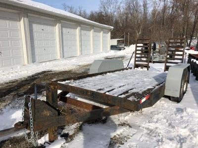 "14'x 75"" bumper hitch trailer, wood floor, metal ramps, pintle hitch, untitled"